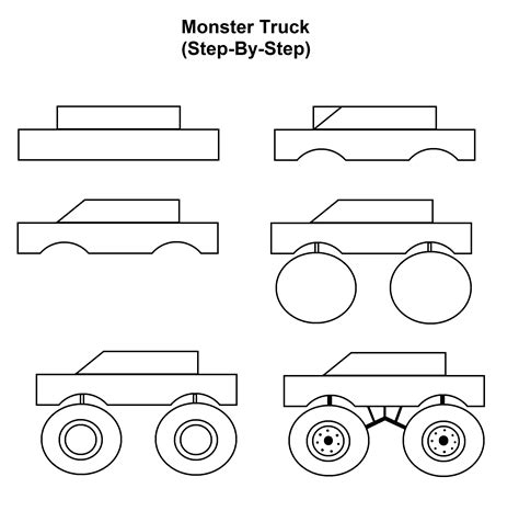 How to Draw a Monster Truck Step by Step Trucks