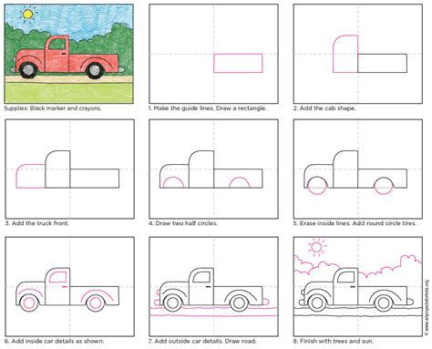 How to Draw a Pickup Truck Pickup Truck Step by Step