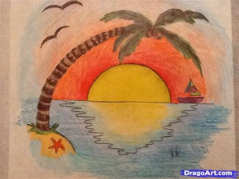 How to Draw a Sunset Step by Step Other Landmarks