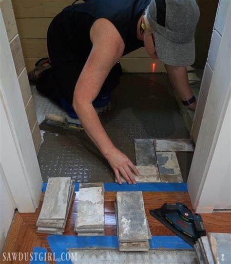 How to Install Tile Flush with Hardwood Floors Sawdust Girl