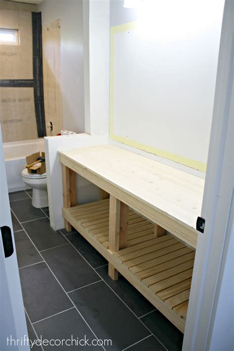 How to build a DIY open bathroom vanity from Thrifty Decor