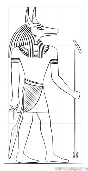 How to draw Anubis the Egyptian god Step by step Drawing