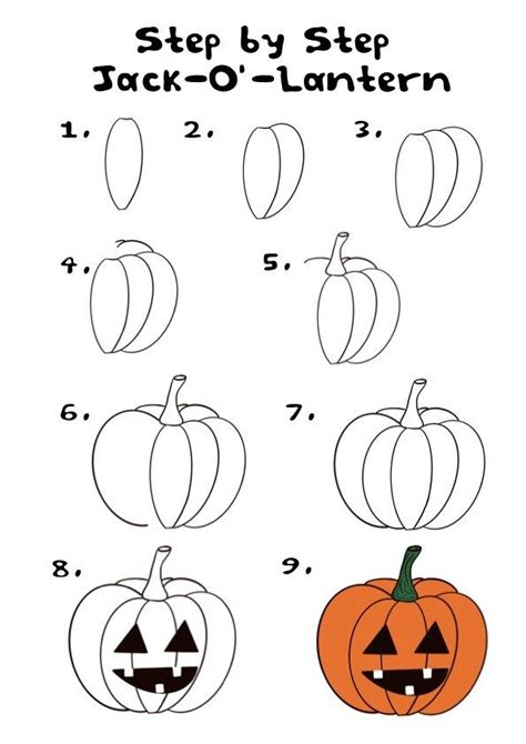 How to draw a Jack o lantern Step by step Drawing tutorials