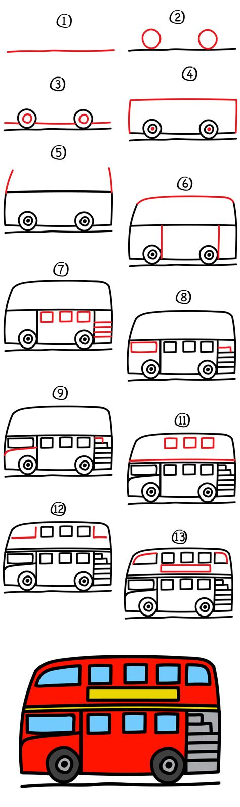 How to draw a double decker bus Step by step Drawing