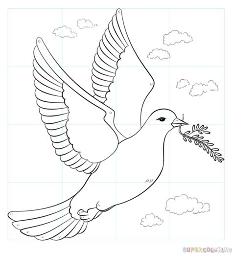 How to draw a peace dove with olive branch Step by step