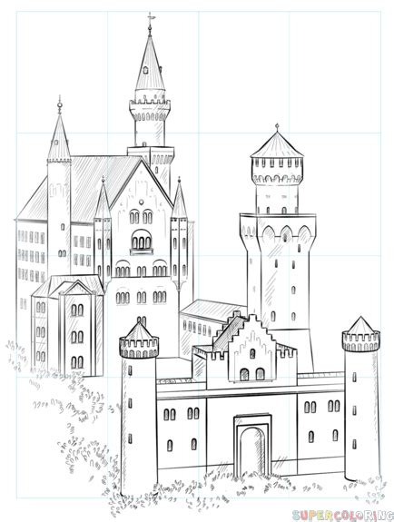 How to draw the Neuschwanstein Castle Step by step