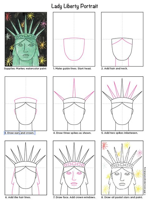 How to draw the Statue of Liberty Step by step Drawing