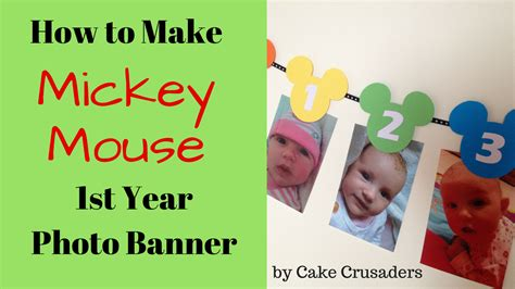 How to make Mickey Mouse 1st year photo banner Free