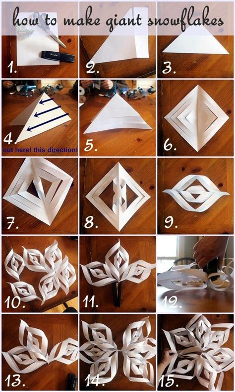 How to make a large 3D paper snowflake step by step YouTube
