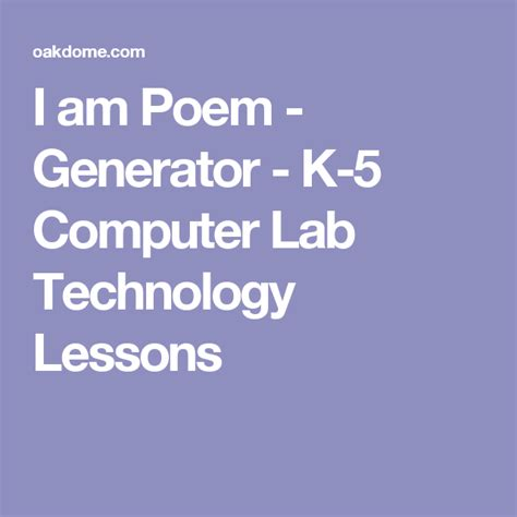 I am Poem Generator K 5 Computer Lab Technology Lessons