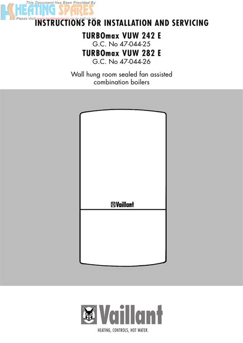 INSTRUCTIONS FOR INSTALLATION AND SERVICING TURBOmax VUW 242 E
