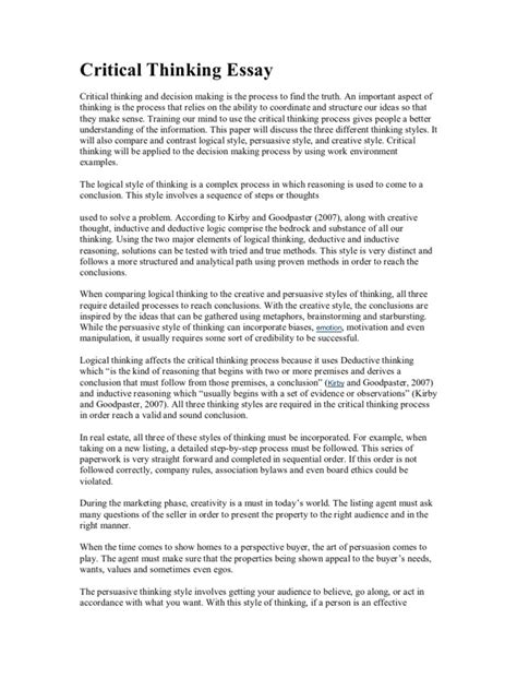 INSTRUCTIONS FOR WRITING A CRITICAL THINKING ESSAY