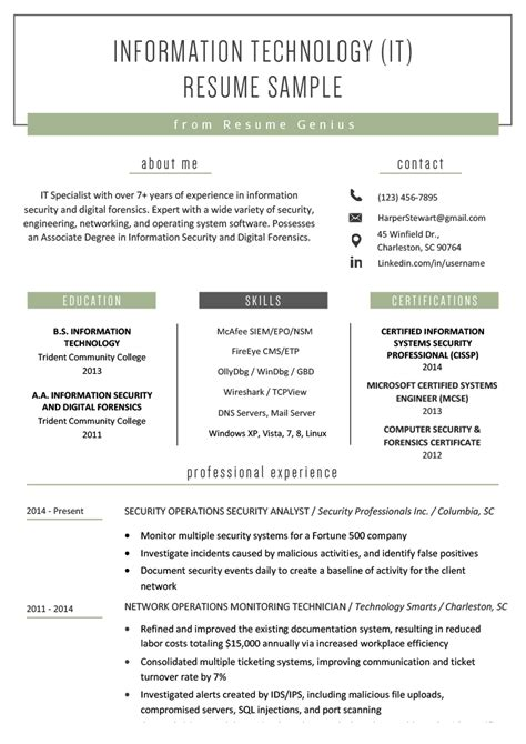 IT Technical Resume Samples for Computer Professionals