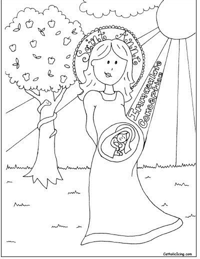 Immaculate Conception Coloring Sheet Catholic Icing
