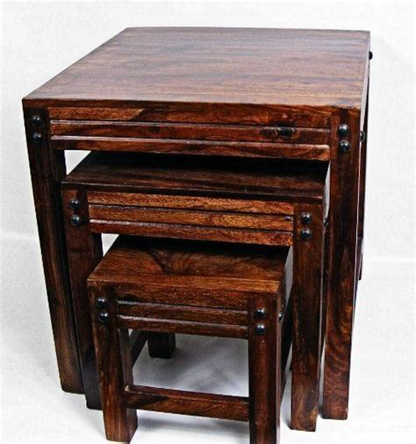 Indian Sheesham Jaipur Solid Wood Nest of 3 Table