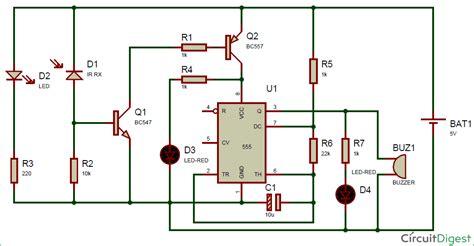 Infrared IR Sensor Detector Circuit Diagram using 555 IC