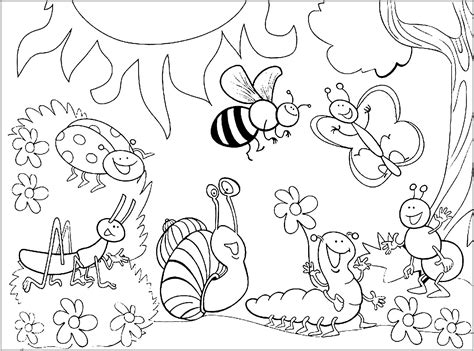 Insects warms bugs Coloring pages for children