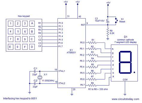 Interfacing hex keypad to 8051 Circuit diagram and