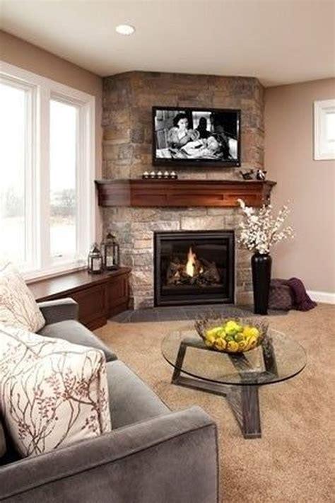 Interior Design Living Room With Corner Fireplace