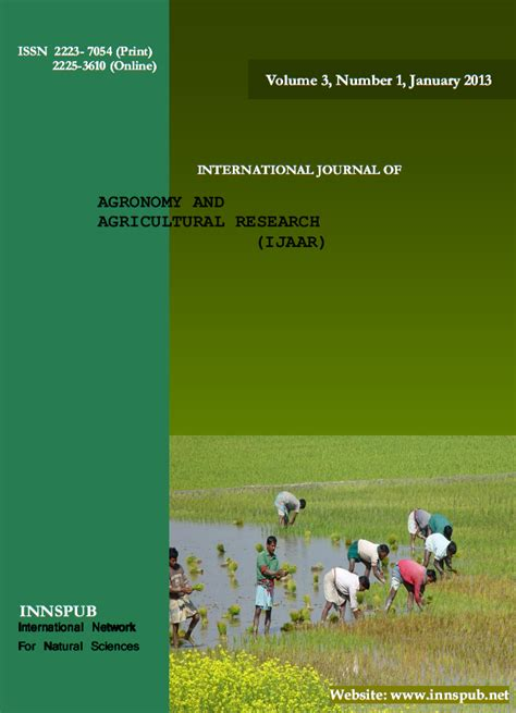 International Journal of Agronomy and Agricultural