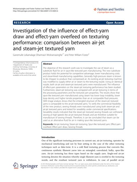 Investigation of the influence of effect yarn draw and