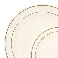 Ivory Gold Rim Plastic Dinnerware Value Set Table Linen