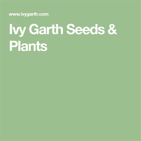 Ivy Garth Seeds Plants
