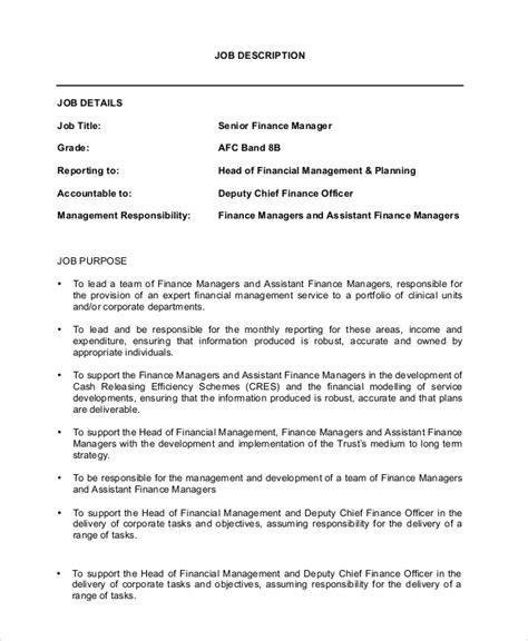 JOB DESCRIPTION FINANCE OFFICER Director of Finance