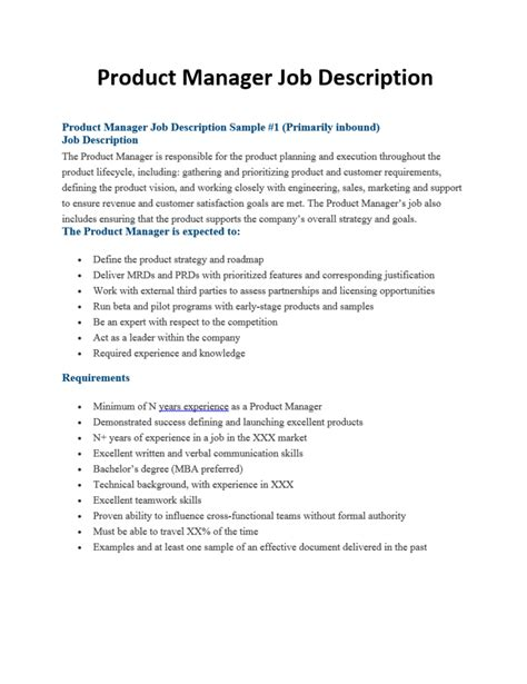 JOB SPECIFICATION TECHNICAL MANAGER