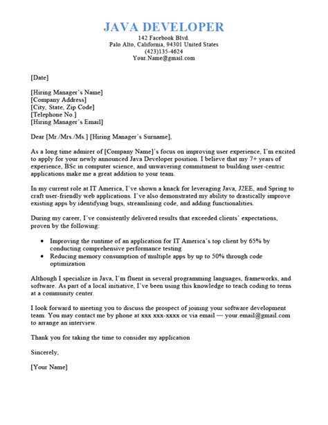 Java Programmer Cover Letter Template and Format