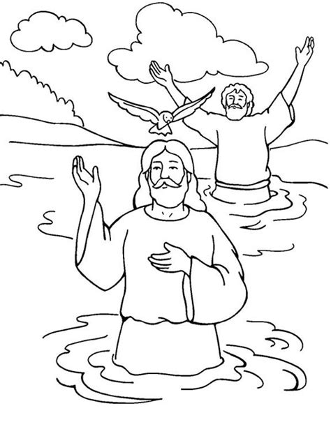 Jesus Baptized by John the Baptist coloring page Free