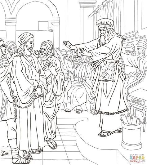 Jesus Before Caiaphas Trial coloring page Free Printable