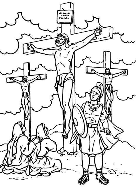 Jesus crucified on the cross coloring page Free