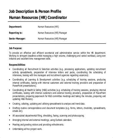 Job Description for HR Coordinator Sample of HR