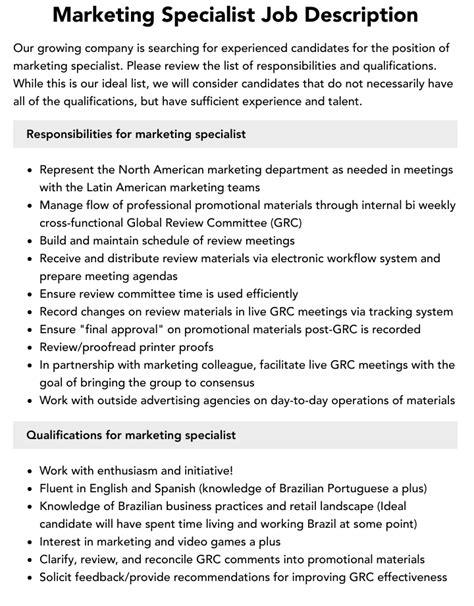 Job Description for Marketing Specialist Example of