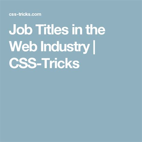 Job Titles in the Web Industry CSS Tricks