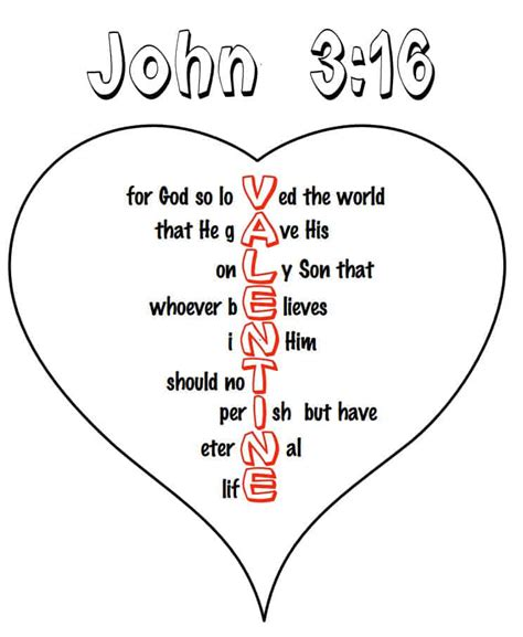John 3 16 Heart Coloring Pages free kids printable