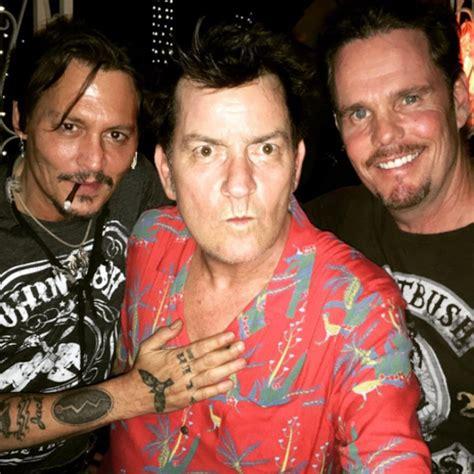 Johnny Depp Charlie Sheen and Kevin Dillon reunite