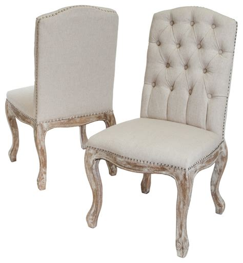 Jolie Linen Dining Chairs Set of 2 Beige Farmhouse