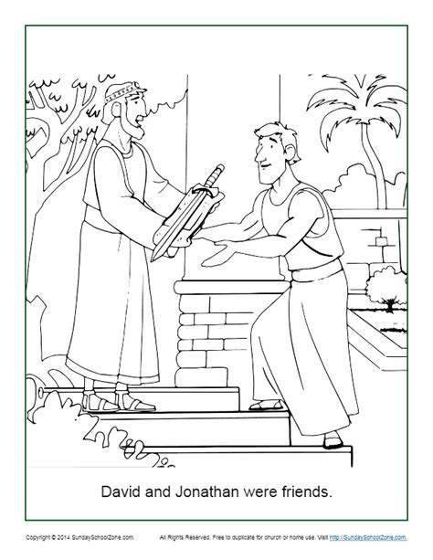 Jonathan and David Friendship coloring page Free