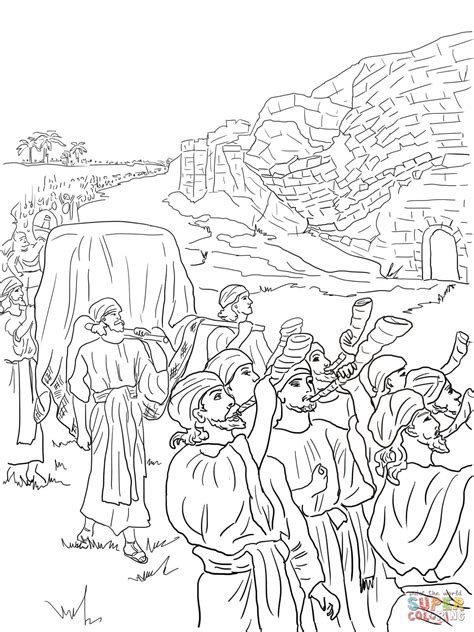 Joshua and the Fall of Jericho coloring page Free