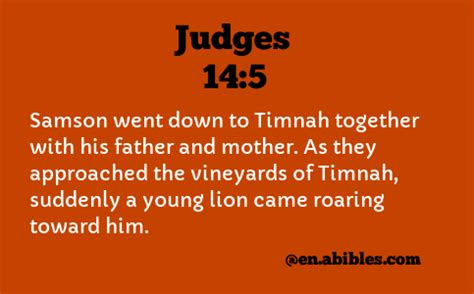 Judges 14 5 Samson went down to Timnah together with his