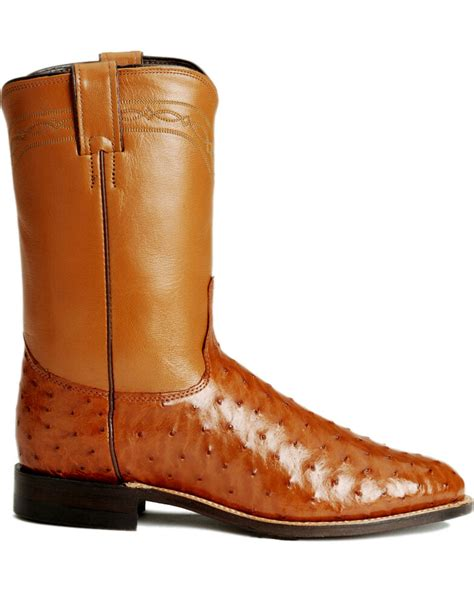 Justin Men s 10 Full Quill Ostrich Exotic Boots Boot Barn