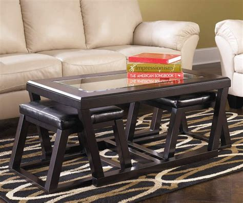 Kelton Coffee Table with 2 Nesting Ottomans Accents Home
