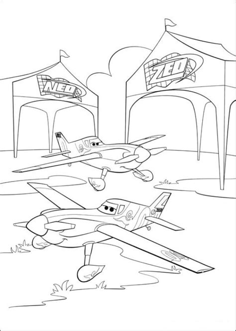 Kids n fun Coloring page Planes Dusty