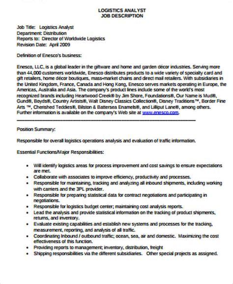 LOGISTICS ANALYST JOB DESCRIPTION Enesco LLC
