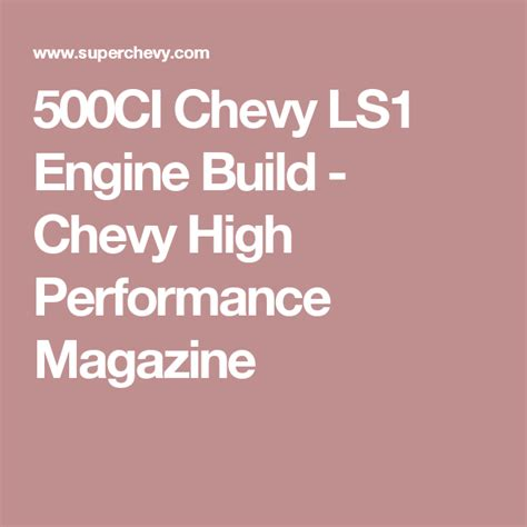 LS1 Engine Swap GM High Tech Performance Magazine