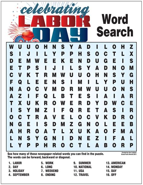 Labor Day activities crafts for kids word searches