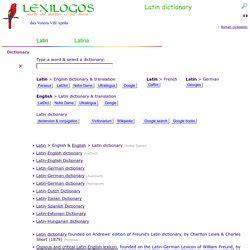 Latin Dictionary Online Translation LEXILOGOS
