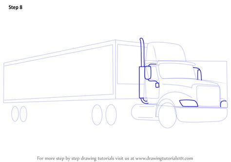 Learn How to Draw a Truck and Trailer Trucks Step by